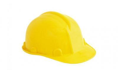 Capacete Simples Carneira Plástico Amarelo